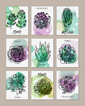 Set of cards with succulents and plants with watercolor stains on a white background. Succulents banners cards. Vector illustration