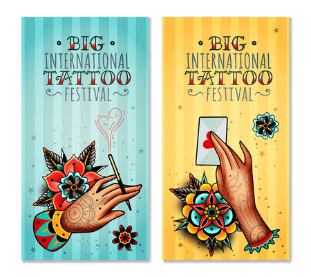 Set of two vertical banners on the subject tattoo festival with tattooed hands holding love letter and mouthpiece with a cigarette