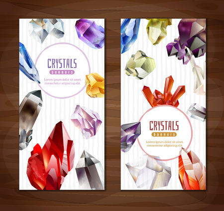 Two vertical banners with realistic Crystals and stones on a wooden background  イラスト・ベクター素材