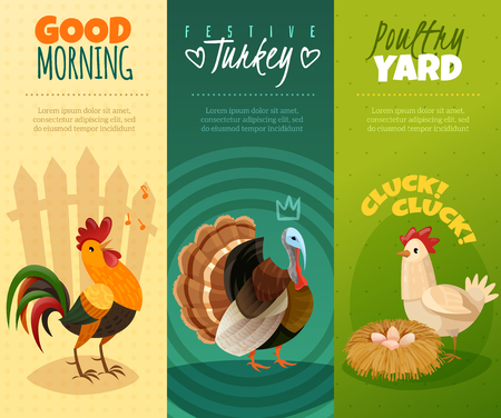 the set of three bright vertical banners cards on a farm theme in cartoon style