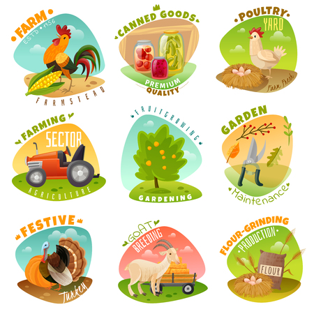 The set of nine bright emblems on a farm theme in cartoon style. Ilustração