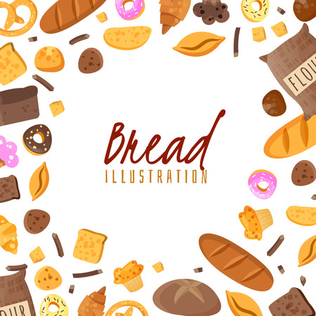 Baking isolated items collected in a frame composition on a white background