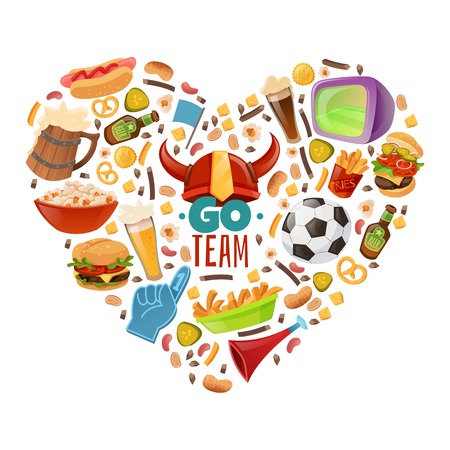 fan paraphernalia sport bar items illustration composed in a heart shape on a white background