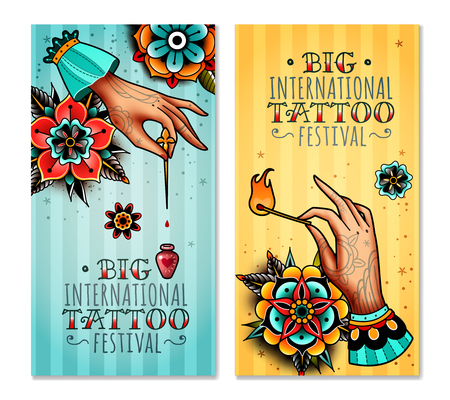 Set of two vertical banners on the subject tattoo festival. Tattooed hands holding burning match and needle with a drop of poison.