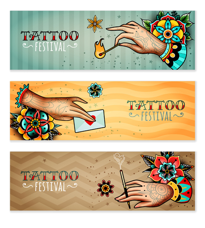 Set of three horizontal banners on the subject tattoo festival. Tattooed hands holding love letter, mouthpiece with a cigarette and burning match.