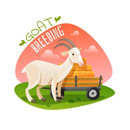 Goat emblem on white background, vector illustration.