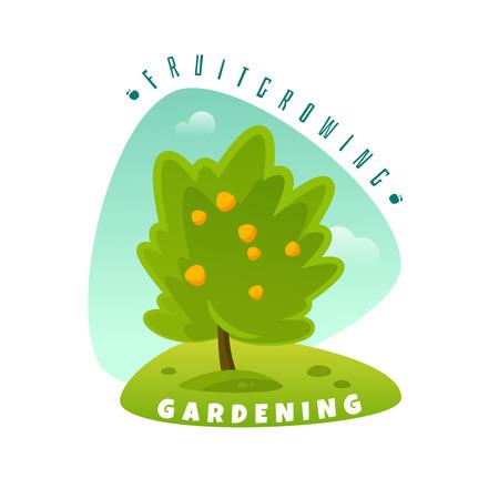 Fruit tree emblem on white background, vector illustration.