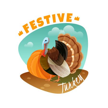 Festive turkey emblem on white background, vector illustration. Stock Illustratie