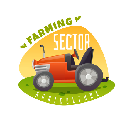 tractor emblem on white background, vector illustration.