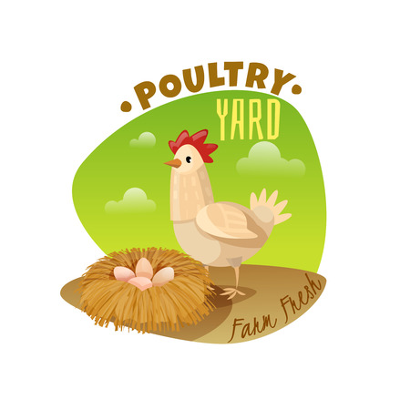 Chicken emblem on white background, vector illustration.