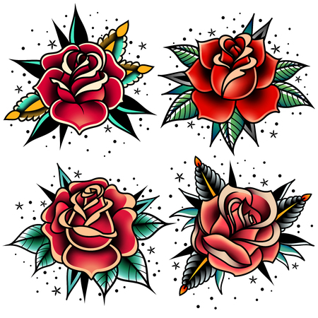 Set of four old school tattoo roses. Çizim