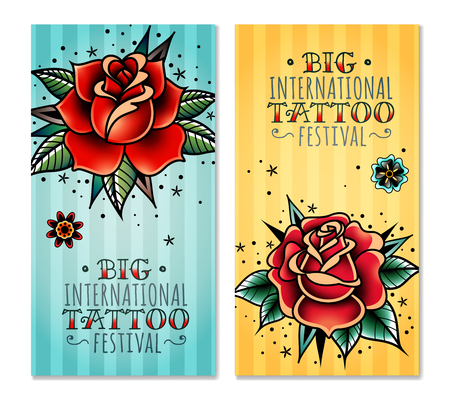 set of two vertical banners on the subject tattoo festival with traditional roses