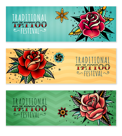 set of three horizontal banners on the subject tattoo festival with traditional roses Stock Illustratie