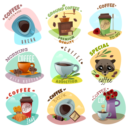 Coffee shop isolated emblems.