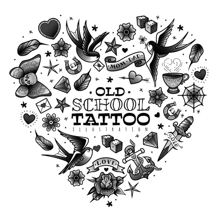 A large set of isolated old school tattoo elements on a white background Stock Illustratie