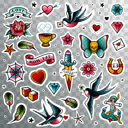 A large set of isolated old school tattoo elements on a transparent background