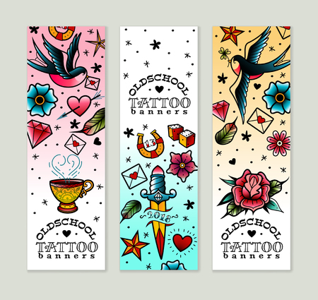A set of three vertical old school tattoo banners