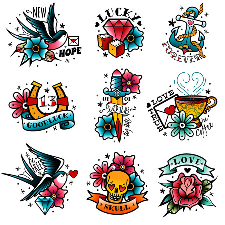 A set of isolated old school tattoo emblems on a white background