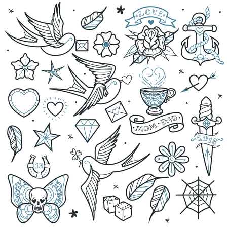A large set of isolated outlines old school tattoo elements on a white background