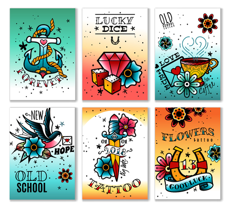 A set of six old school tattoo cards on a white background Ilustrace