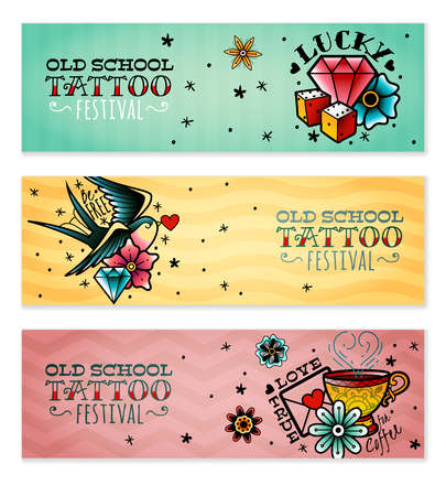 A set of three horizontal old school tattoo banners on a white background