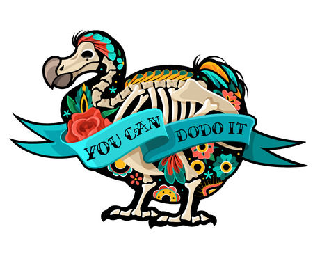 Stylized skeleton Drontal. Old school tattoo Dodo. Vector illustration Stock Illustratie