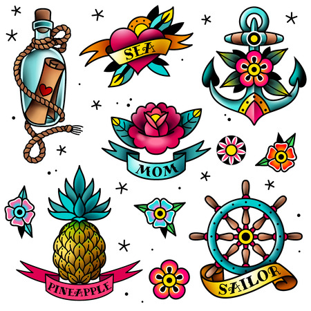 Isolated old school tattoo elements on a white background Ilustração
