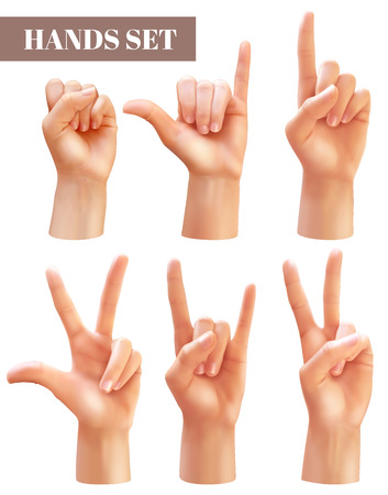 Set of six isolated realistic hands on a white background. Realistic hands set. Vector collection Ilustração