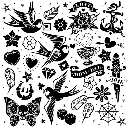 Black and white old school tattoo set on a white background. Vector illustration