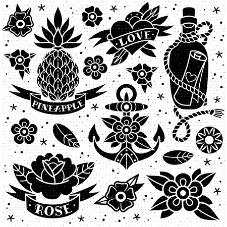 Black and white old school tattoo set with a texture on a white background. Vector illustration Ilustração