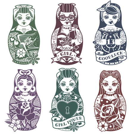 Old school tattoo Pin Up Russian Dolls monochrome Set. Vector illustration Çizim