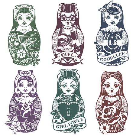 Old school tattoo Pin Up Russian Dolls monochrome Set. Vector illustration Illustration