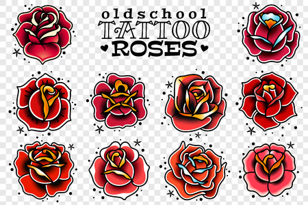 set of four oldschool tattoo red roses on a white background Foto de archivo - 109012737