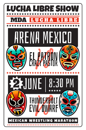 Lucha libre show luchador colorful mexican wrestling masks icons poster in traditional old school tattoo style on a white background Illustration