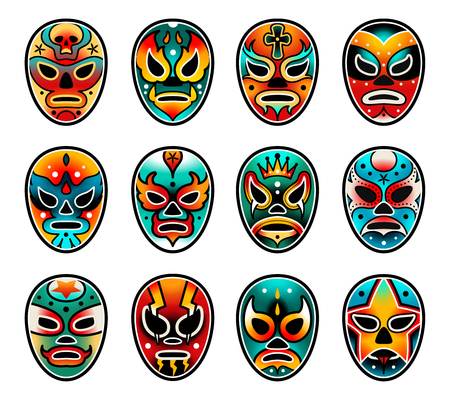 Lucha libre show luchador colorful mexican wrestling masks icons set in traditional old school tattoo style on a white background