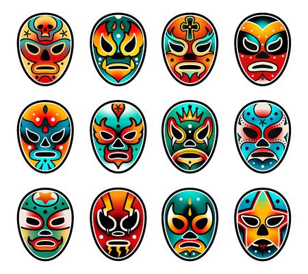 Lucha Libre zeigen Luchador bunte mexikanische Wrestling-Masken-Symbole im traditionellen Old-School-Tattoo-Stil auf weißem Hintergrund