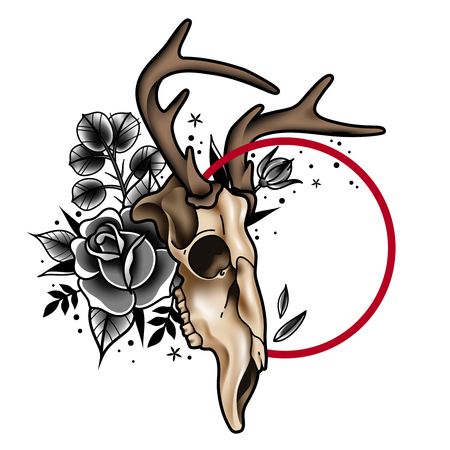 Deer skull in tattoo style decorated with monochrome roses and foliage on white background realistic vector illustration
