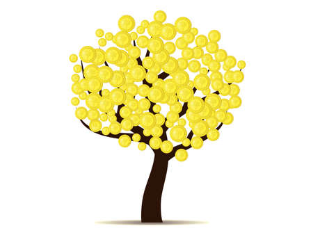 specie: Money does grow on trees gold coins on tree isolated on white background