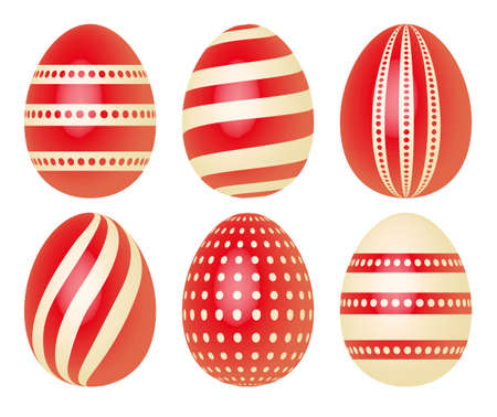 ecru: Set of Easter eggs in red and ecru decorated with dots and stripes isolated on white background Illustration