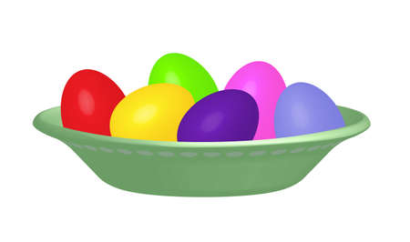 lore: Dyed Easter eggs red, blue, yellow, purple, green and pink in a pea green bowl isolated on white background