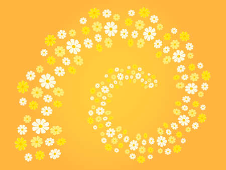 chirpy: Flower spiral flower swirl in different shades of white, yellow and orange - background theme, card