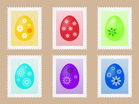 post stamp: Sheet with stamps with painted eggs for your Easter post Illustration