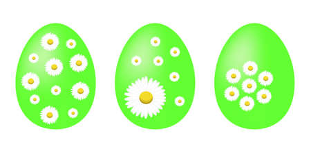 lore: Set of green painted Easter eggs decorated with daisy flowers Illustration