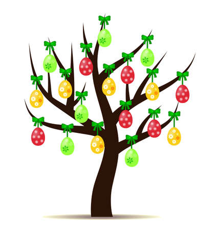 lore: Decorated Easter eggs (yellow, red and green) hanging on tree isolated on white background