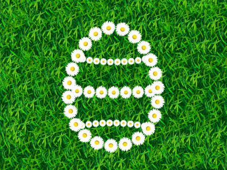 lore: Daisy chain in shape of Easter egg on grass background