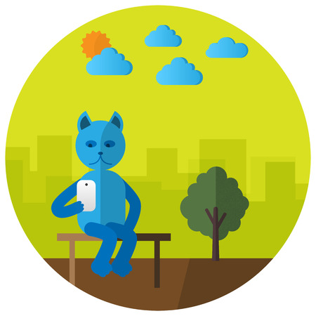 Cute selfie cat with mobile phone flat style Ilustrace