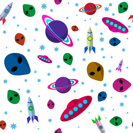 Seamless outer space background with rockets, palanets and UFO