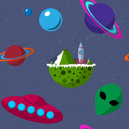 Seamless pattern with planets, UFO, alien, flying saucer and space rocket. Outer space theme.