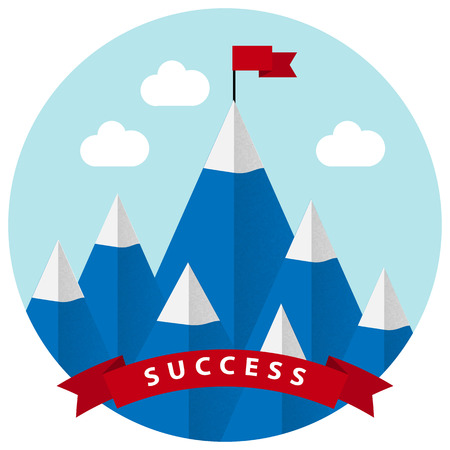 Flat design vector illustration of success and victory. High mountain, ribbon, clouds, red  flag on the mountain peak, winning strategy. Achieving the goal, winning strategy with focus on results.
