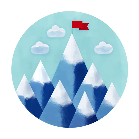 Watercolor vector illustration of success and victory. High mountain, ribbon, clouds, red  flag on the mountain peak, winning strategy. Achieving the goal, winning strategy with focus on results. 矢量图像